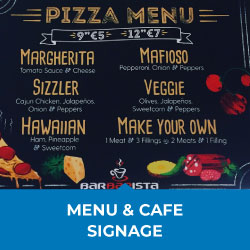 menu and cafe signage