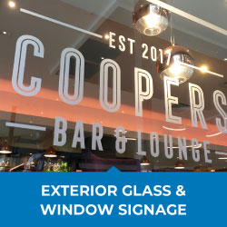 exterior glass and window signage